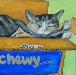 cute cat sleeping in box painting.png