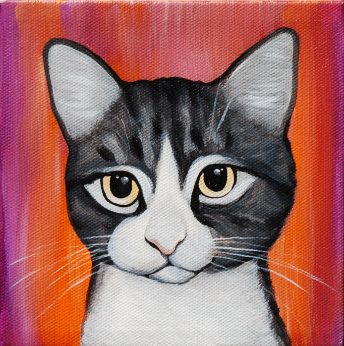 cute kitty cat painting red