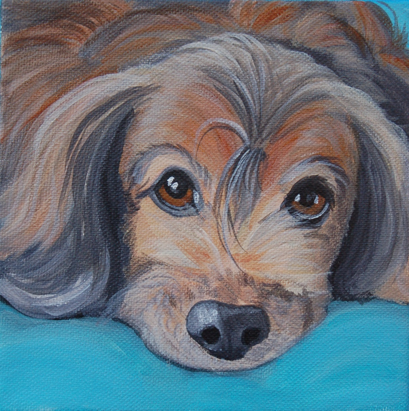 long haired dachshund painting puppy.png