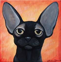 hairless cat painting