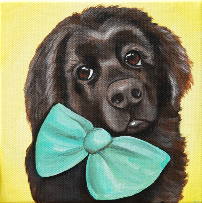painting of big brown dog wearing bow tie.png