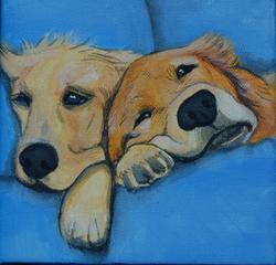 2 golden retriever puppies sleepy.png