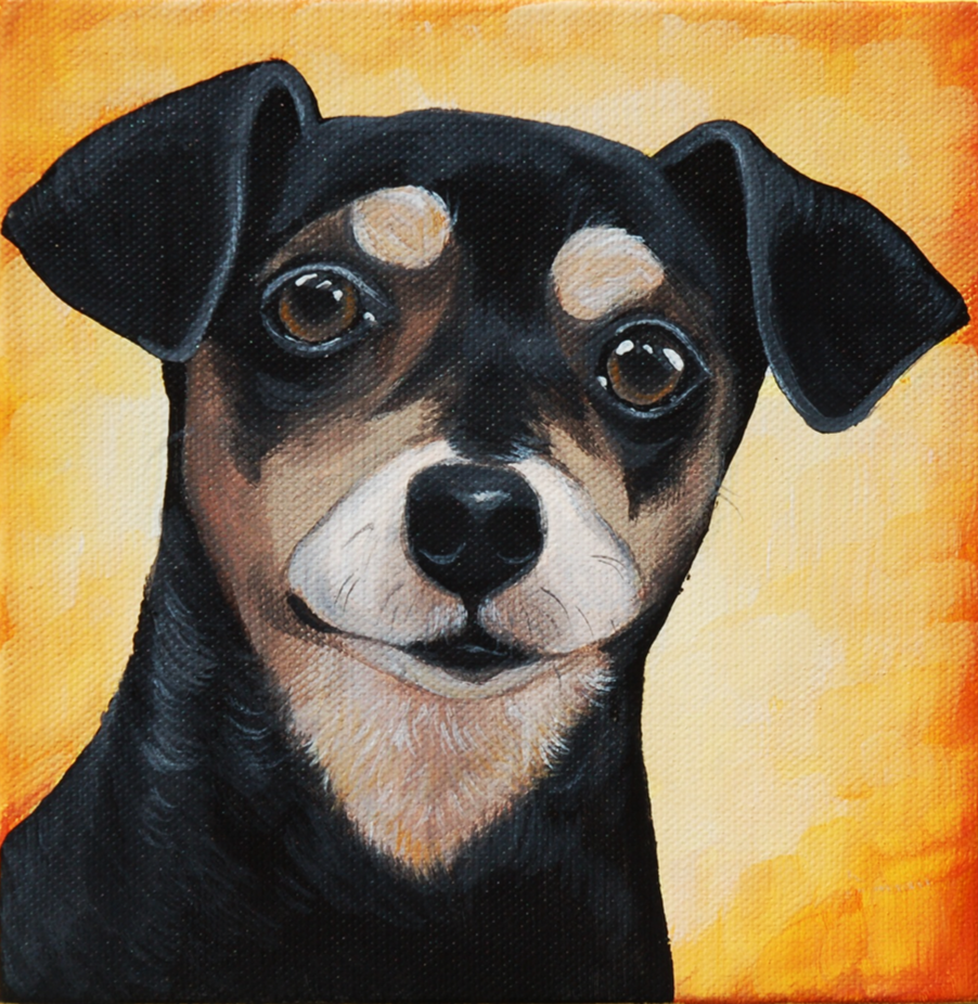 black chihuahua dachshund mix painting on canvas.png