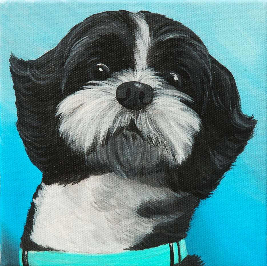 black and white shih tzu adorable painting.png