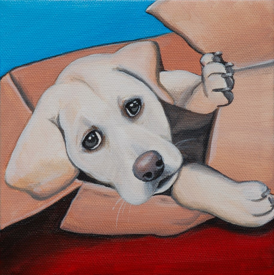 yellow lab puppy in a box painting.jpg