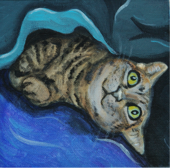 sleepy cat painting in bed