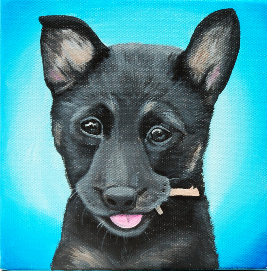 german shepherd puppy chewing on stick painting.png