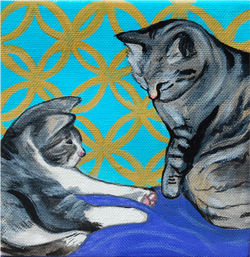 2 cats painting