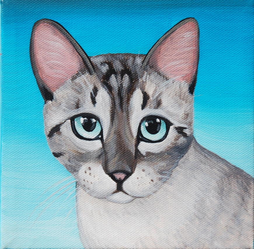 pretty kitty painting on canvas