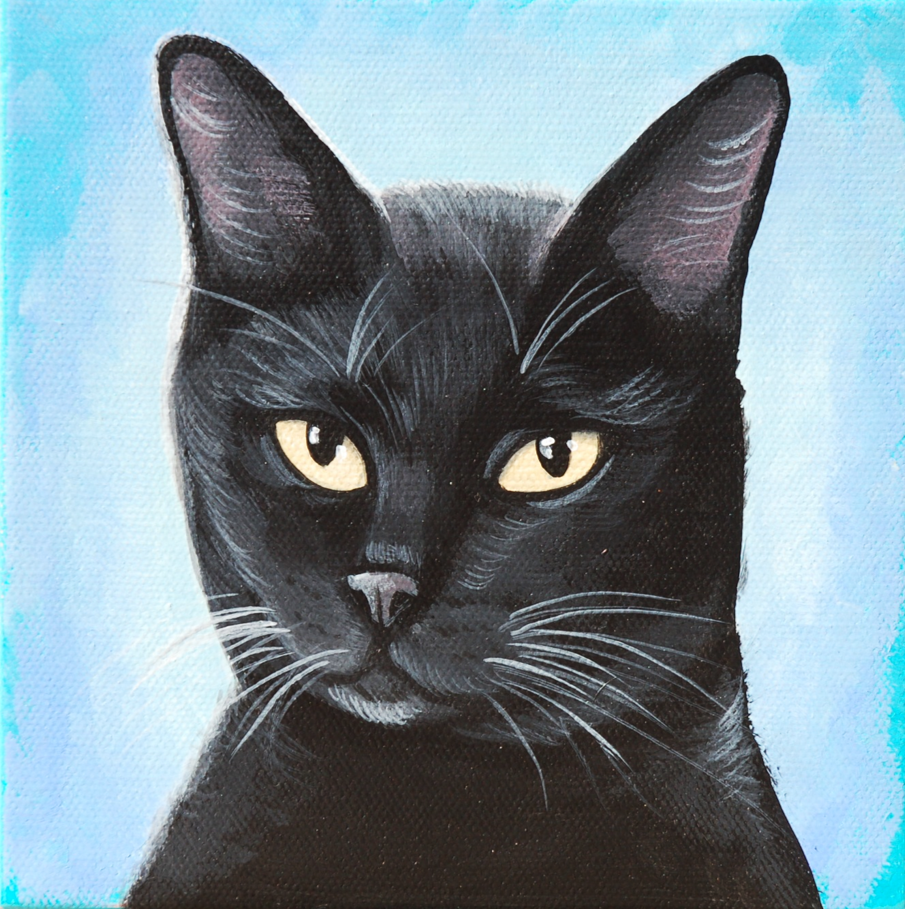 black cat painting custom art