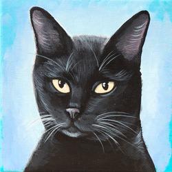 black cat painting custom art