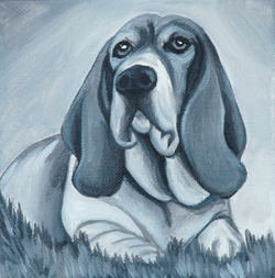 bassett hound painting black and white.png