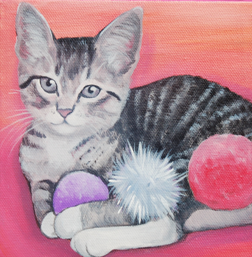 cute kitten in pink painting