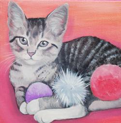 cute kitten in pink painting