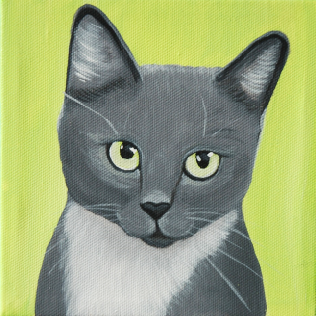 grey kitty painting