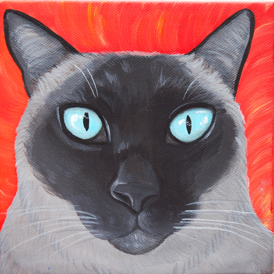 Cool Siamese cat painting