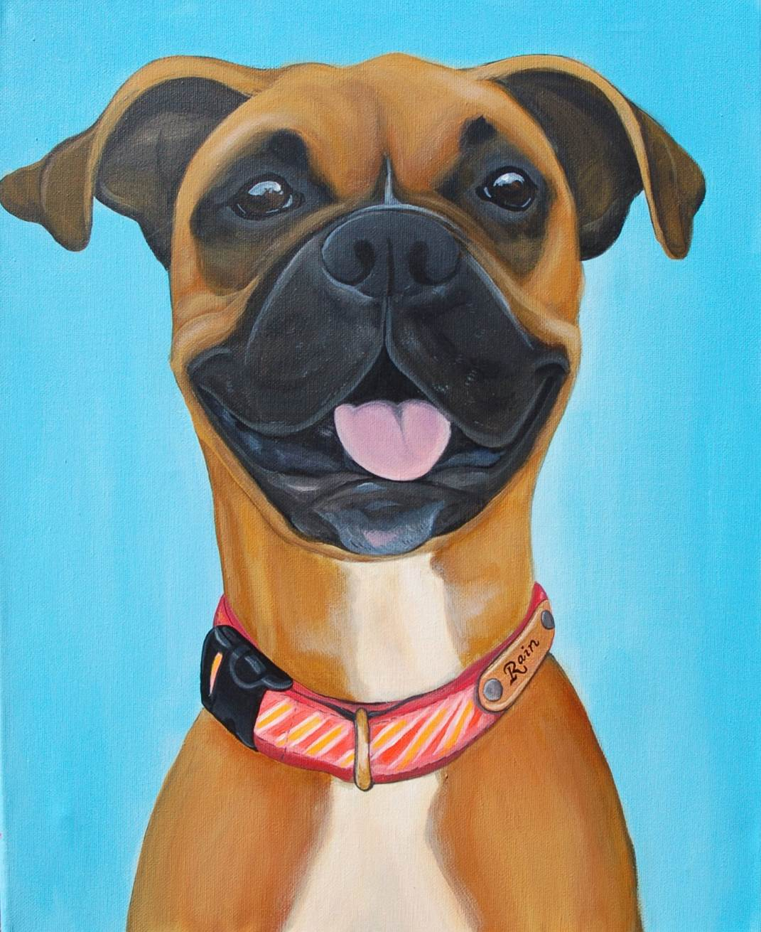 Boxer custom pet painting