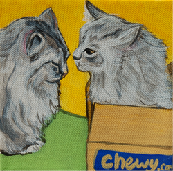 2 cats yellow painting