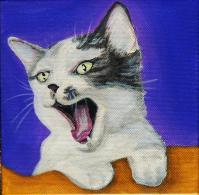Cat Yawning Painting