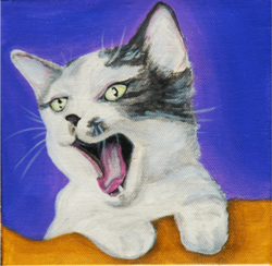 Cat Yawning Painting