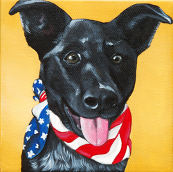 cute puppy painting wearing american flag bandana.png