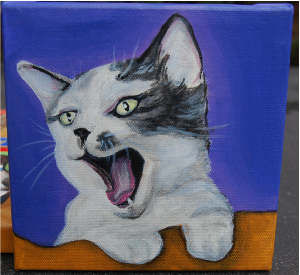 cute kitten yawning painting