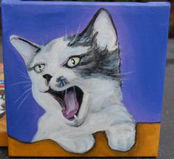 cute kitten yawning painting