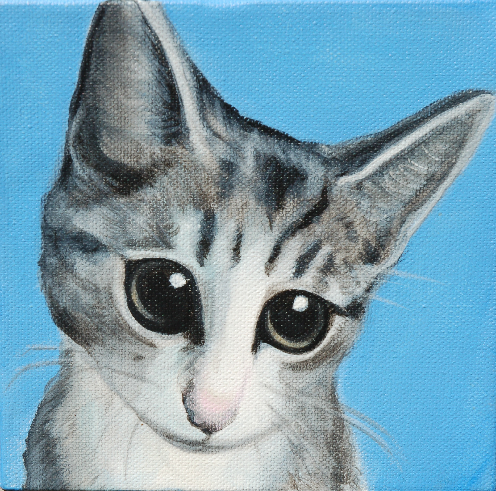 custom painting cute kitten cat