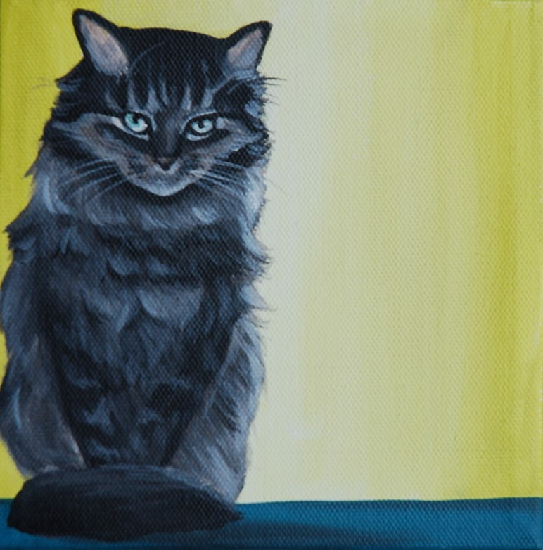 kitty cat portrait painting