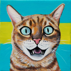 awesome amazing cat painting on canvas