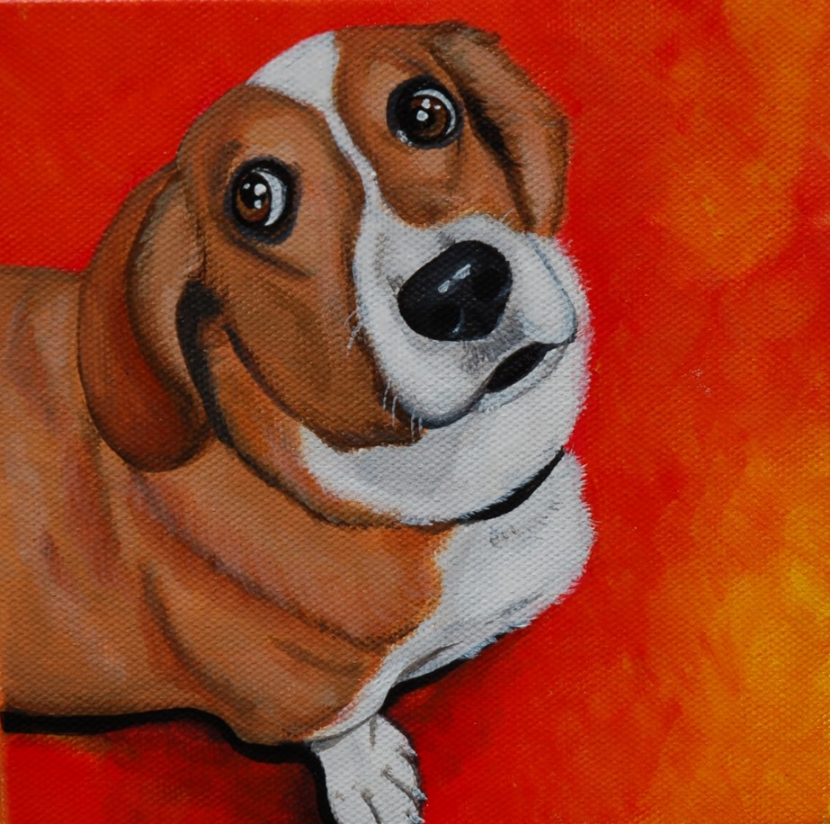 cute corgi mix painting on canvas.jpg