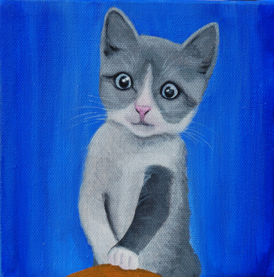 cute grey kitten painting