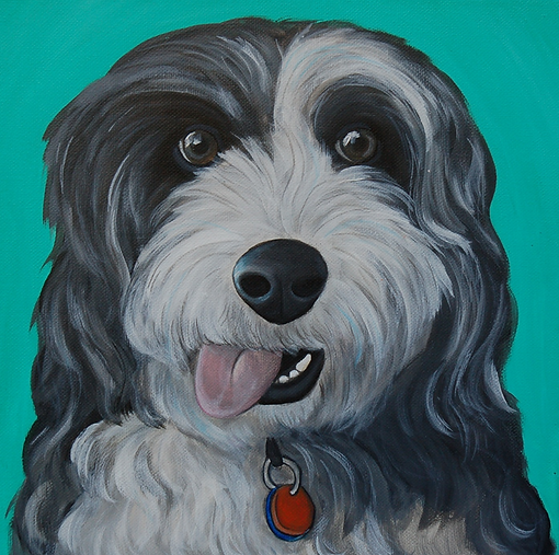 custom pet portraits, old english sheepdog painting, custom pet painting, cute shaggy dog, sheepdog portrait painting, cool gift ideas, bold bright painting of dog, pet portraits from photos