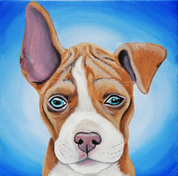pitbull puppy with one ear up painting on canvas.png