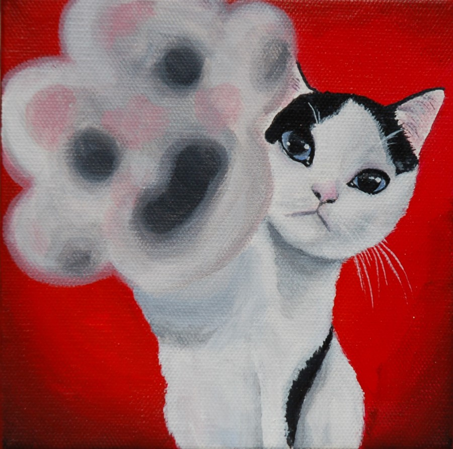 tuxedo kitten painting high five