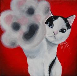 tuxedo kitten painting high five