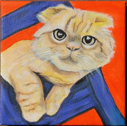 cute kitty painting red