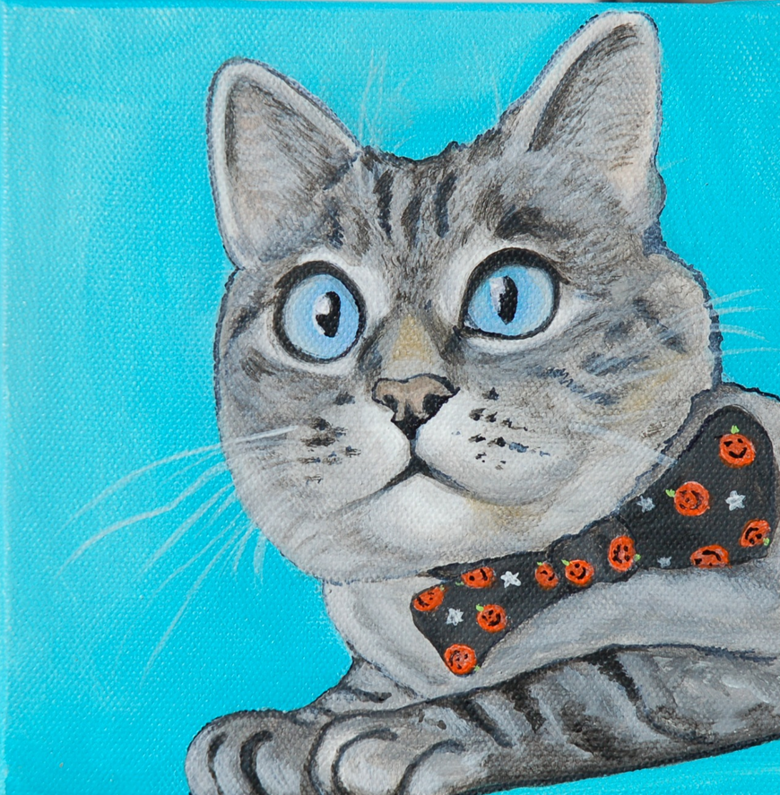 Cat with Bow Tie Painting
