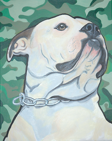 custom pet portraits, american bulldog painting, custom pet painting, beautiful american bulldog, cool gift ideas, bold painting of bulldog