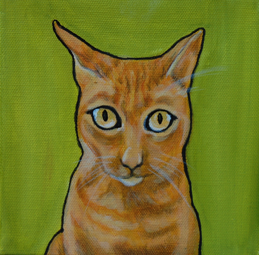 orange cat painting on canvas