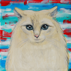 cat painting abstract background