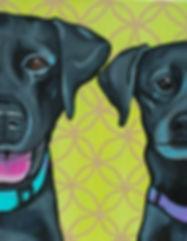 Custom Pet Painting, Labrador Painting, Labrador Retriever Painting, Black Labs Painting, Custom Pet Portrait, pet portrait painting, black dog painting, two labrador retriever painting