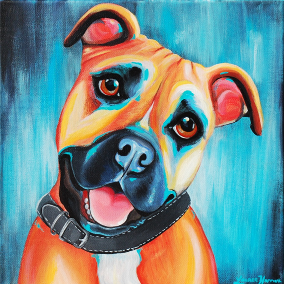 Colorful Abstract Pitbull Painting