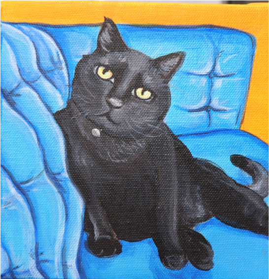 cute black cat on couch painting