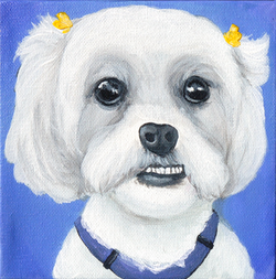cute white fluffy dog haibows painting.png