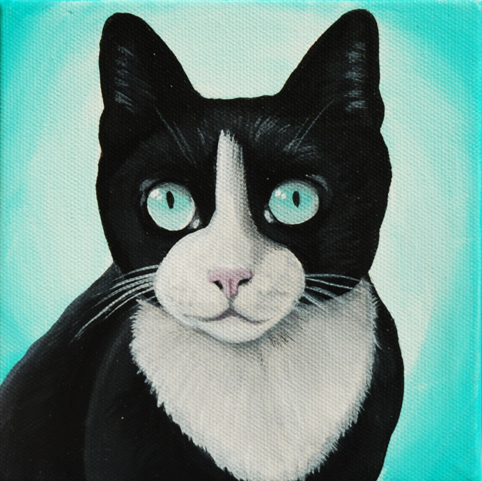 tuxedo cat custom pet painting