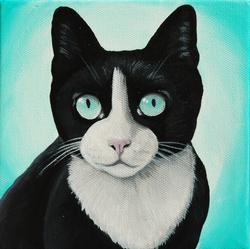tuxedo cat custom pet painting
