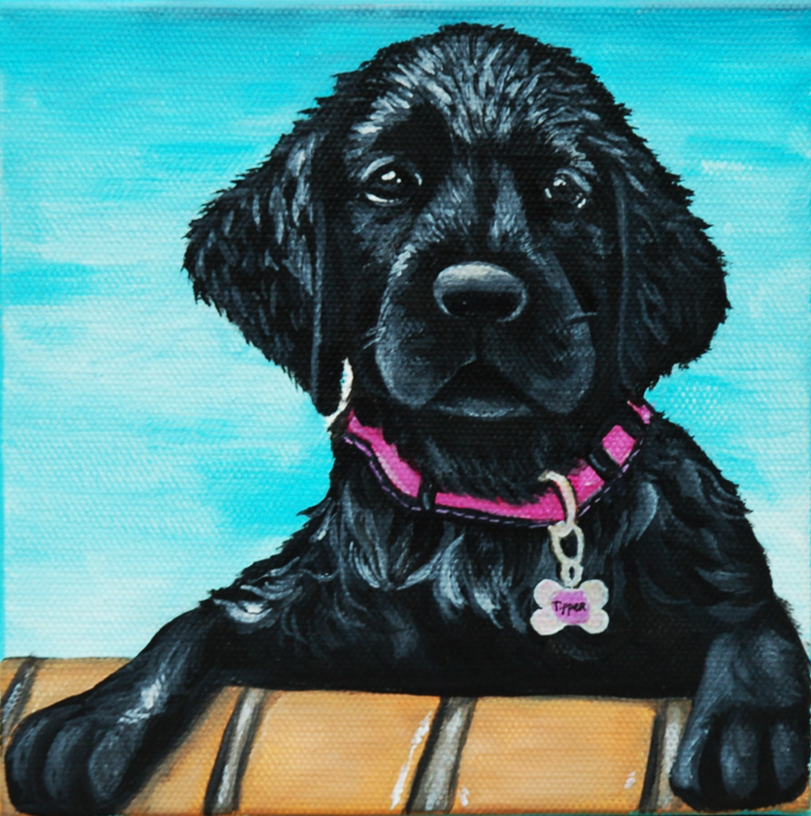 cute black lab puppy wet in pool custom pet painting.png