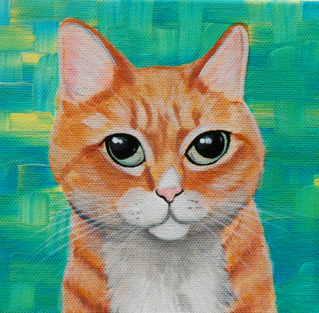 orange tabby cat custom painting