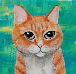 orange tabby cat custom painting